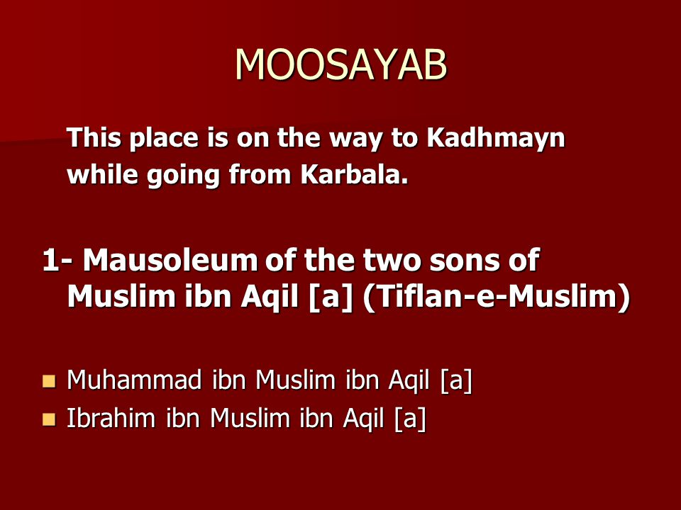 MOOSAYAB This place is on the way to Kadhmayn while going from Karbala. 1- Mausoleum of the two sons of Muslim ibn Aqil [a] (Tiflan-e-Muslim)